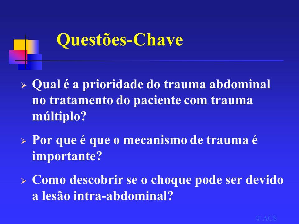 Questões-Chave  Qual é a prioridade do trauma abdominal no tratamento do paciente com trauma múltiplo.