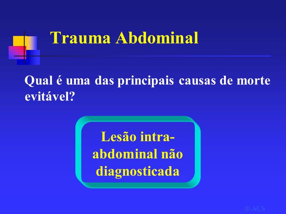 Trauma Abdominal Qual é uma das principais causas de morte evitável.