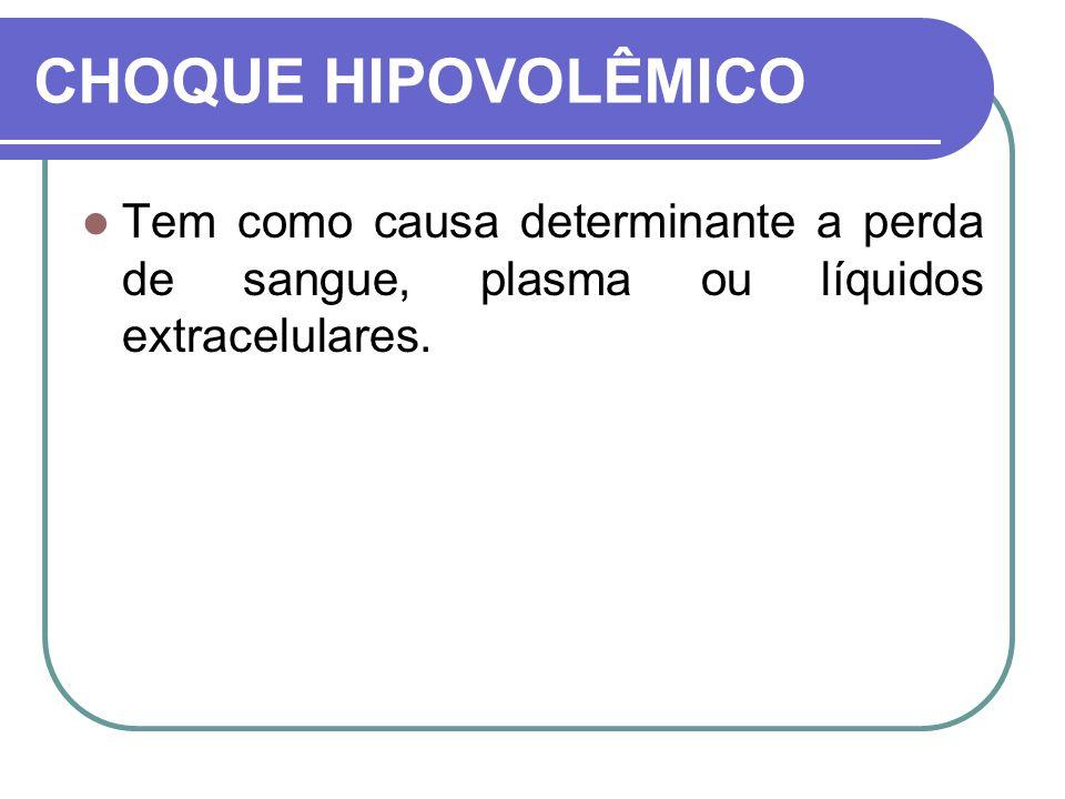 CHOQUE HIPOVOLÊMICO Tem como causa determinante a perda de sangue, plasma ou líquidos extracelulares.