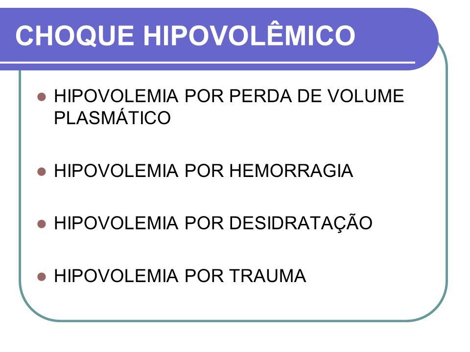 CHOQUE HIPOVOLÊMICO HIPOVOLEMIA POR PERDA DE VOLUME PLASMÁTICO HIPOVOLEMIA POR HEMORRAGIA HIPOVOLEMIA POR DESIDRATAÇÃO HIPOVOLEMIA POR TRAUMA