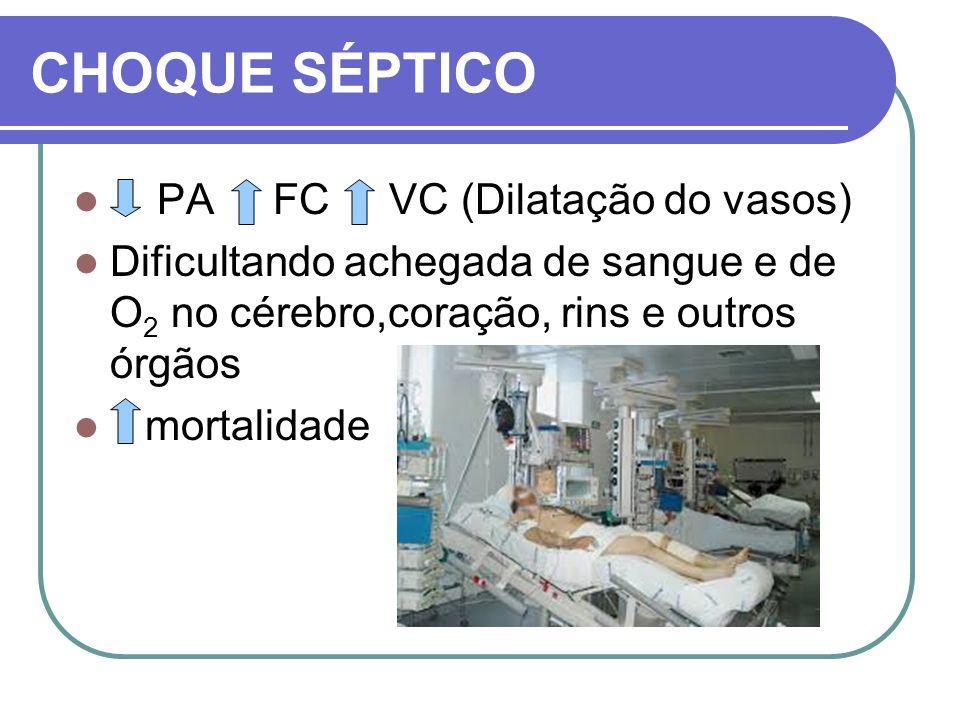 CHOQUE SÉPTICO PA FC VC (Dilatação do vasos) Dificultando achegada de sangue e de O 2 no cérebro,coração, rins e outros órgãos mortalidade