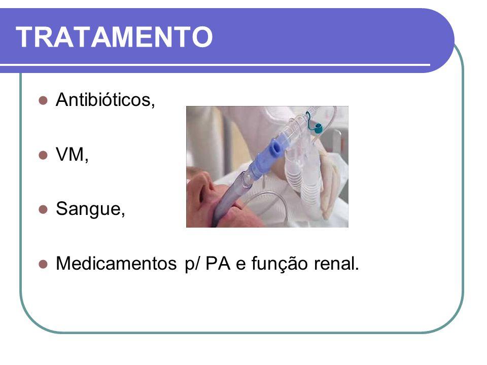 TRATAMENTO Antibióticos, VM, Sangue, Medicamentos p/ PA e função renal.