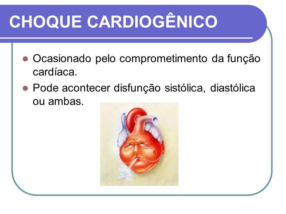 CHOQUE CARDIOGÊNICO Ocasionado pelo comprometimento da função cardíaca. Pode acontecer disfunção sistólica, diastólica ou ambas.