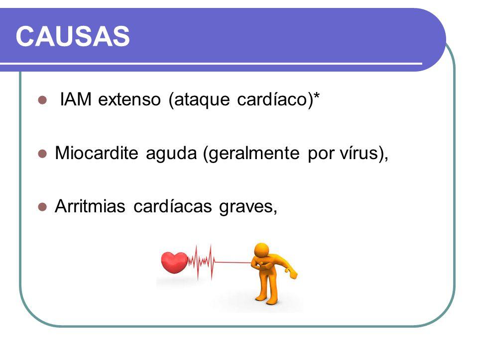 CAUSAS IAM extenso (ataque cardíaco)* Miocardite aguda (geralmente por vírus), Arritmias cardíacas graves,