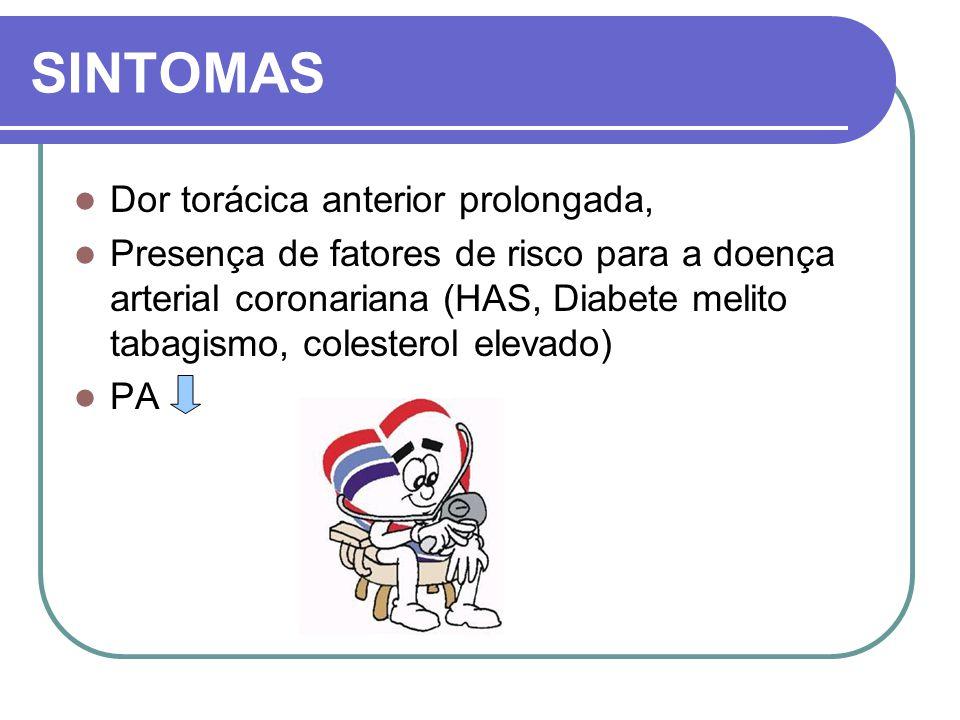 SINTOMAS Dor torácica anterior prolongada, Presença de fatores de risco para a doença arterial coronariana (HAS, Diabete melito tabagismo, colesterol
