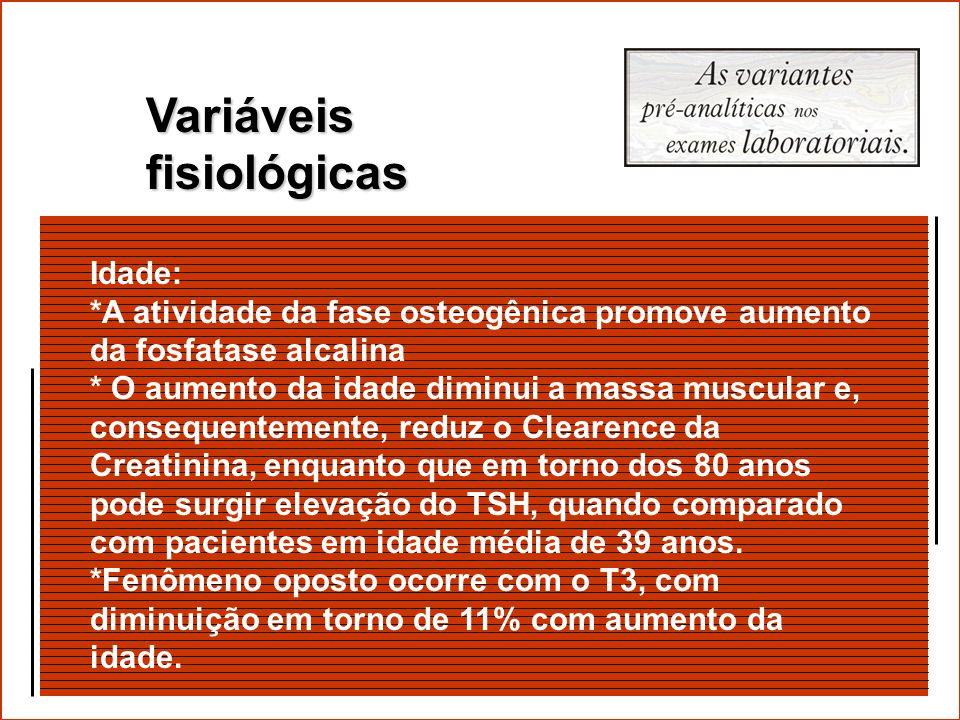 As variáveis pré-analíticas são agrupadas em três categorias: Variáveis fisiológicas Variáveis de coleta de espécime Fatores de interferência Os teste