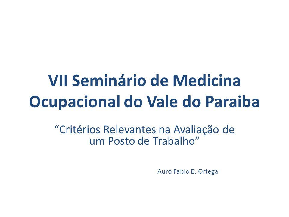 VII Seminário de Medicina Ocupacional do Vale do Paraiba Critérios Relevantes na Avaliação de um Posto de Trabalho Auro Fabio B.