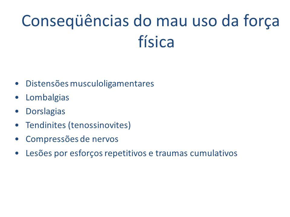 Conseqüências do mau uso da força física Distensões musculoligamentares Lombalgias Dorslagias Tendinites (tenossinovites) Compressões de nervos Lesões por esforços repetitivos e traumas cumulativos