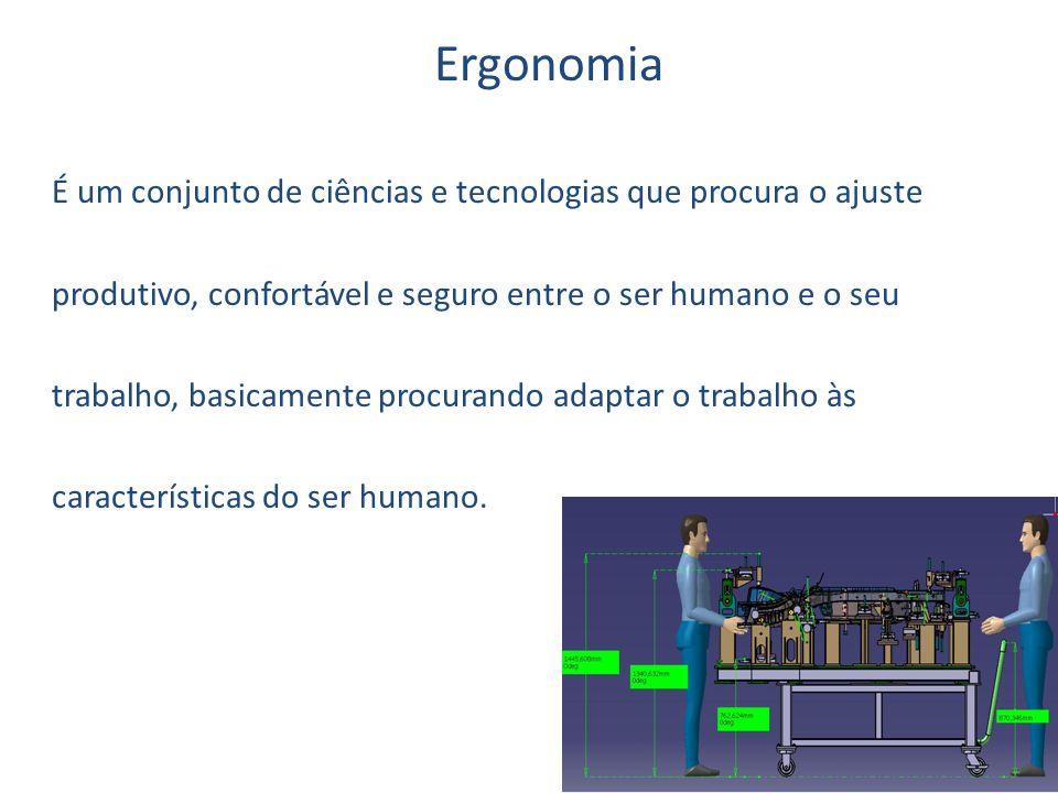Ergonomia É um conjunto de ciências e tecnologias que procura o ajuste produtivo, confortável e seguro entre o ser humano e o seu trabalho, basicamente procurando adaptar o trabalho às características do ser humano.