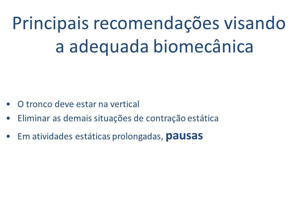 Principais recomendações visando a adequada biomecânica O tronco deve estar na vertical Eliminar as demais situações de contração estática Em atividades estáticas prolongadas, pausas