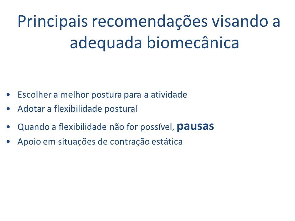 Principais recomendações visando a adequada biomecânica Escolher a melhor postura para a atividade Adotar a flexibilidade postural Quando a flexibilidade não for possível, pausas Apoio em situações de contração estática