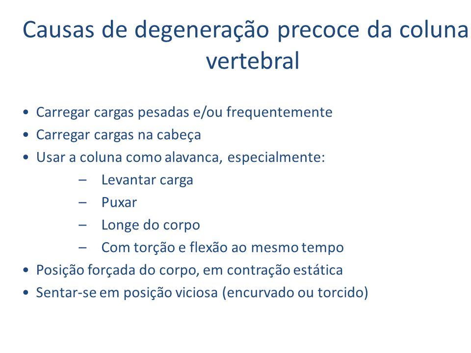 Causas de degeneração precoce da coluna vertebral Carregar cargas pesadas e/ou frequentemente Carregar cargas na cabeça Usar a coluna como alavanca, e