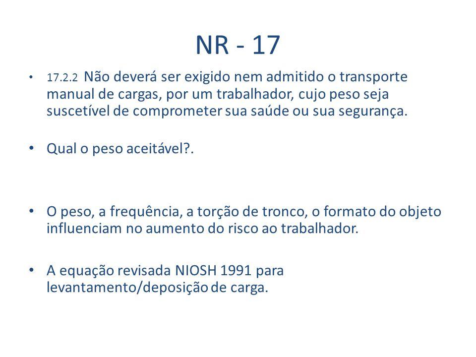 NR - 17 17.2.2 Não deverá ser exigido nem admitido o transporte manual de cargas, por um trabalhador, cujo peso seja suscetível de comprometer sua saúde ou sua segurança.