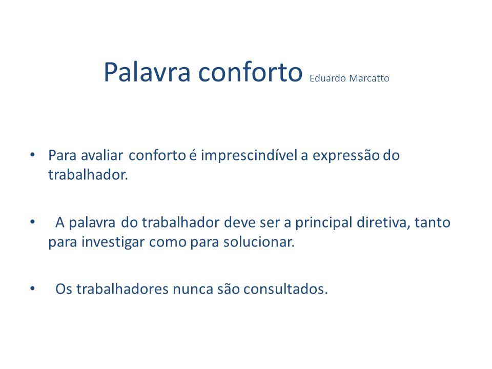 Palavra conforto Eduardo Marcatto Para avaliar conforto é imprescindível a expressão do trabalhador. A palavra do trabalhador deve ser a principal dir