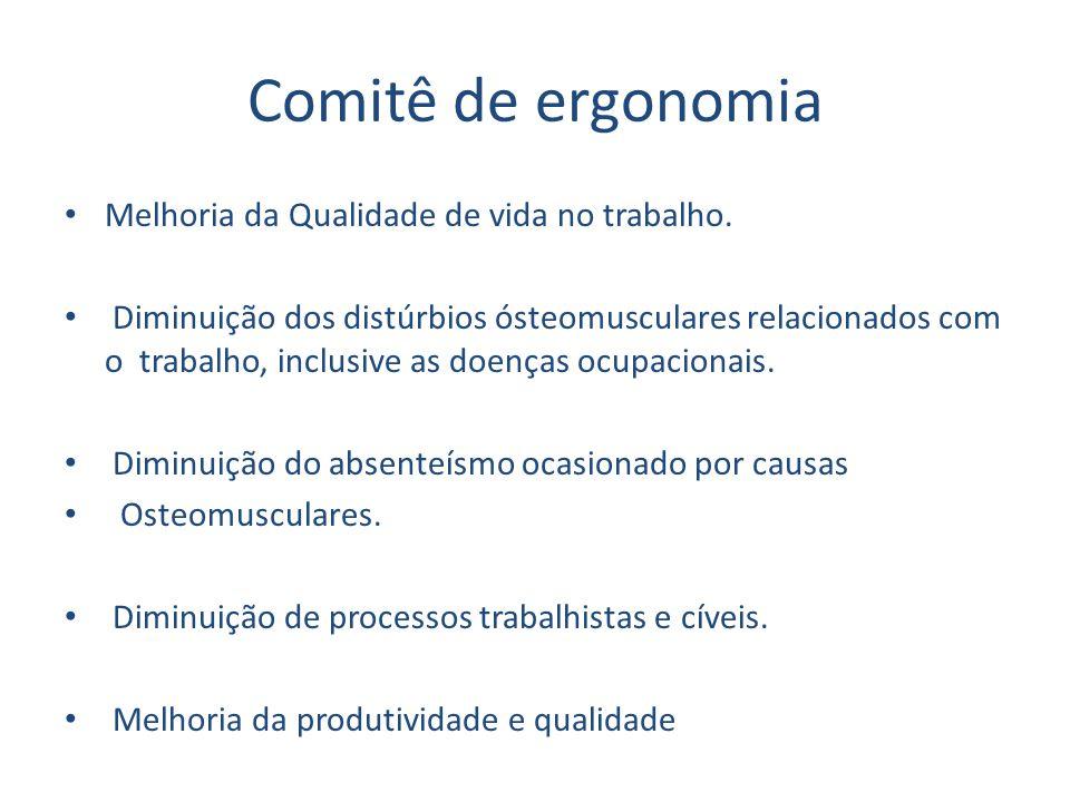Comitê de ergonomia Melhoria da Qualidade de vida no trabalho. Diminuição dos distúrbios ósteomusculares relacionados com o trabalho, inclusive as doe
