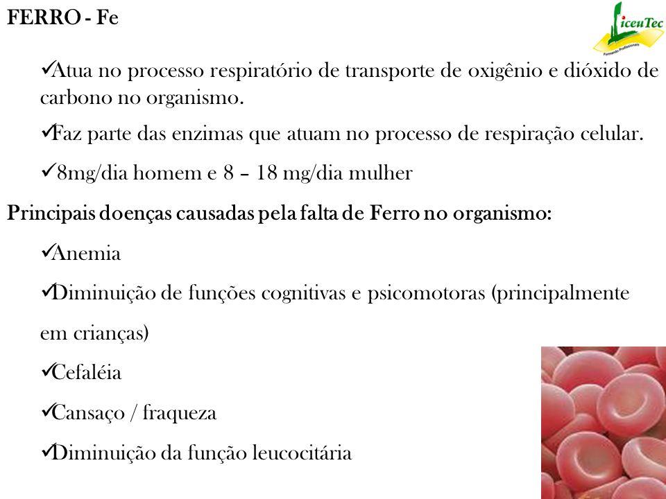 Ele é encontrado nas seguintes fontes: - Brócolis - Fígado de boi - Farinha de soja - Amêndoa - Feijão - Aspargos - Gema de ovos - Banana - Carne Magra - Peixes - Mariscos - Cereja - Amendoim cozido - Figo em calda - Farinha de aveia crua - Avelã - Espinafre - Broto de Chuchu - Beterraba