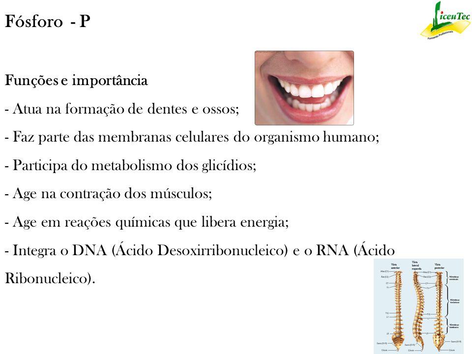 Flúor - Fl Ajuda a formar e proteger os dentes, previnindo as cáries dentárias e osteoporose - desgaste dos ossos.