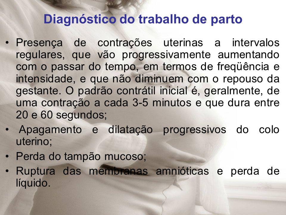 Diagnóstico do trabalho de parto Presença de contrações uterinas a intervalos regulares, que vão progressivamente aumentando com o passar do tempo, em