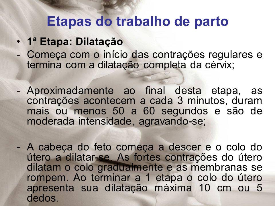Etapas do trabalho de parto 1ª Etapa: Dilatação -Começa com o início das contrações regulares e termina com a dilatação completa da cérvix; -Aproximad