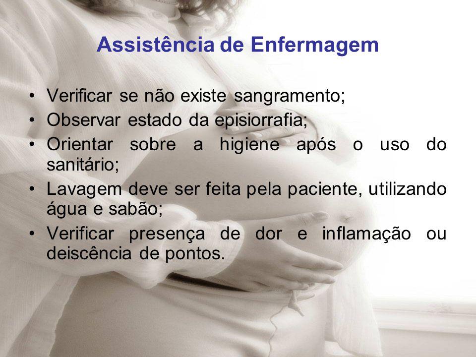 Assistência de Enfermagem Verificar se não existe sangramento; Observar estado da episiorrafia; Orientar sobre a higiene após o uso do sanitário; Lava