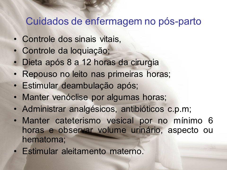 Cuidados de enfermagem no pós-parto Controle dos sinais vitais, Controle da loquiação; Dieta após 8 a 12 horas da cirurgia Repouso no leito nas primei
