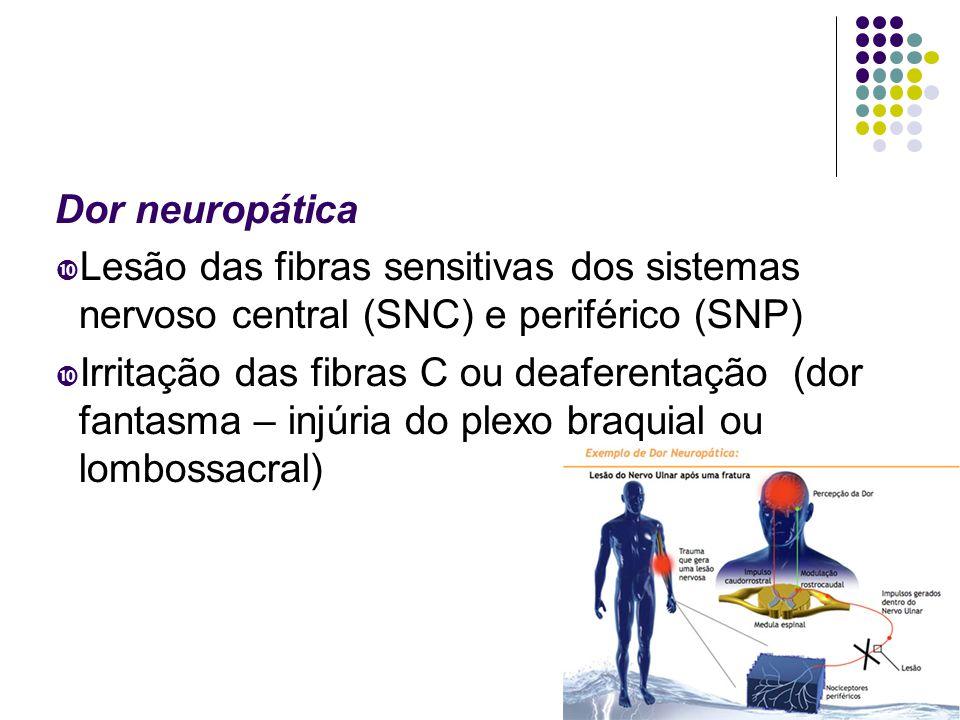 Dor neuropática  Lesão das fibras sensitivas dos sistemas nervoso central (SNC) e periférico (SNP)  Irritação das fibras C ou deaferentação (dor fantasma – injúria do plexo braquial ou lombossacral)