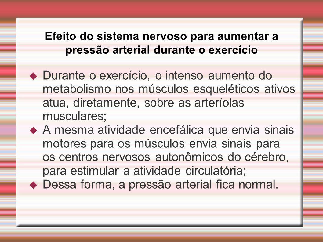 Efeito do sistema nervoso para aumentar a pressão arterial durante o exercício  Durante o exercício, o intenso aumento do metabolismo nos músculos es