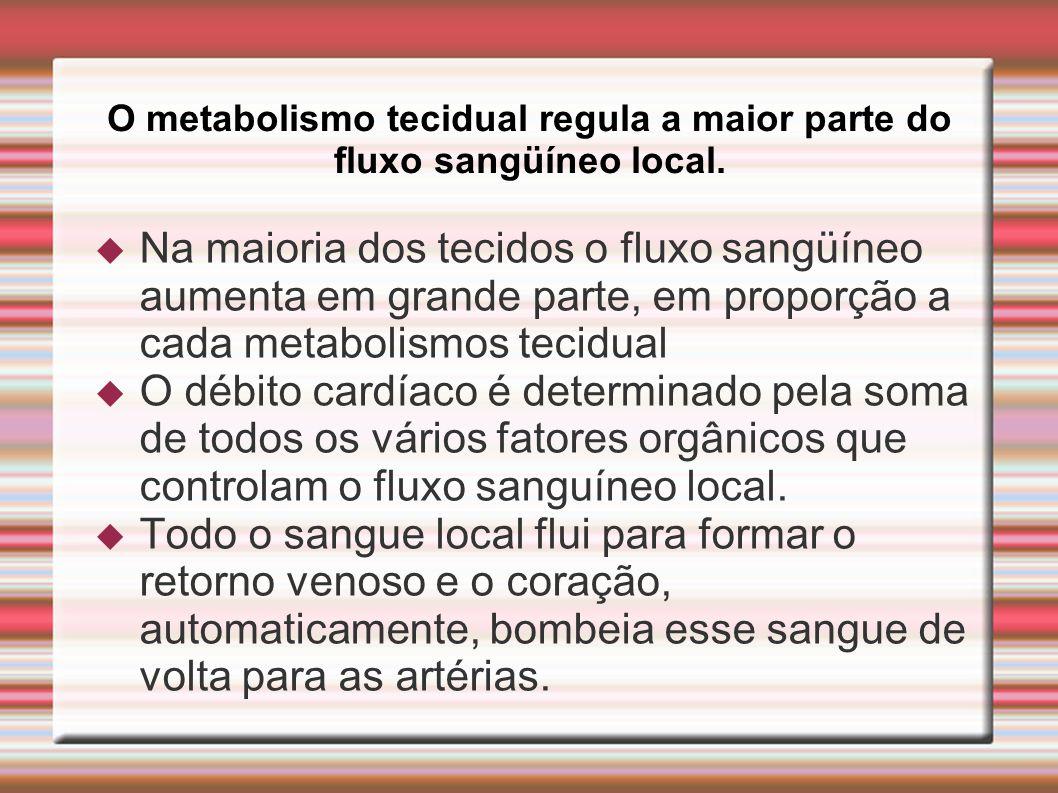O metabolismo tecidual regula a maior parte do fluxo sangüíneo local.  Na maioria dos tecidos o fluxo sangüíneo aumenta em grande parte, em proporção
