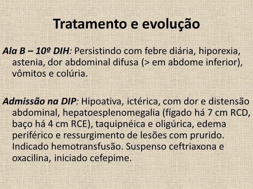 Tratamento e evolução Ala B – 10º DIH: Persistindo com febre diária, hiporexia, astenia, dor abdominal difusa (> em abdome inferior), vômitos e colúria.