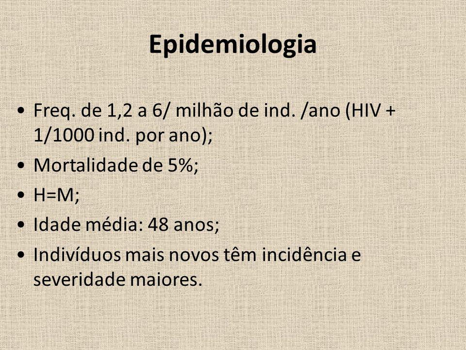 Epidemiologia Freq.de 1,2 a 6/ milhão de ind. /ano (HIV + 1/1000 ind.