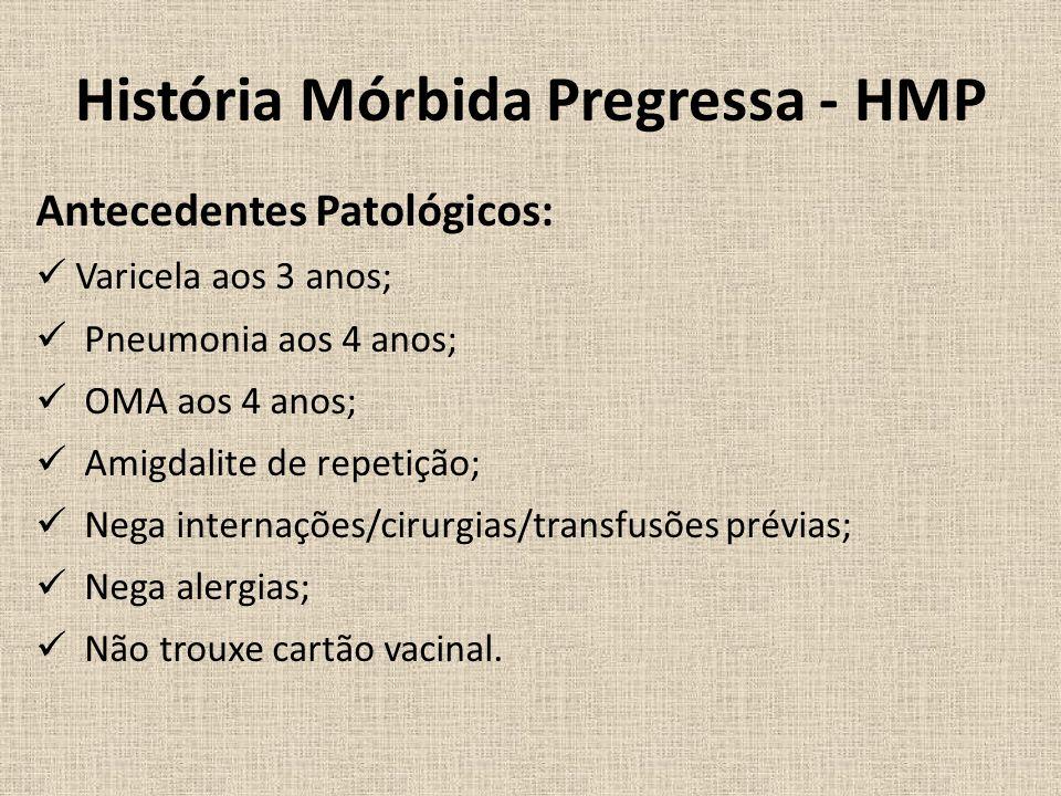 História Mórbida Pregressa - HMP Antecedentes Patológicos: Varicela aos 3 anos; Pneumonia aos 4 anos; OMA aos 4 anos; Amigdalite de repetição; Nega internações/cirurgias/transfusões prévias; Nega alergias; Não trouxe cartão vacinal.