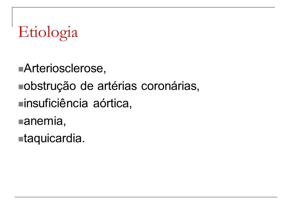 Etiologia Arteriosclerose, obstrução de artérias coronárias, insuficiência aórtica, anemia, taquicardia.
