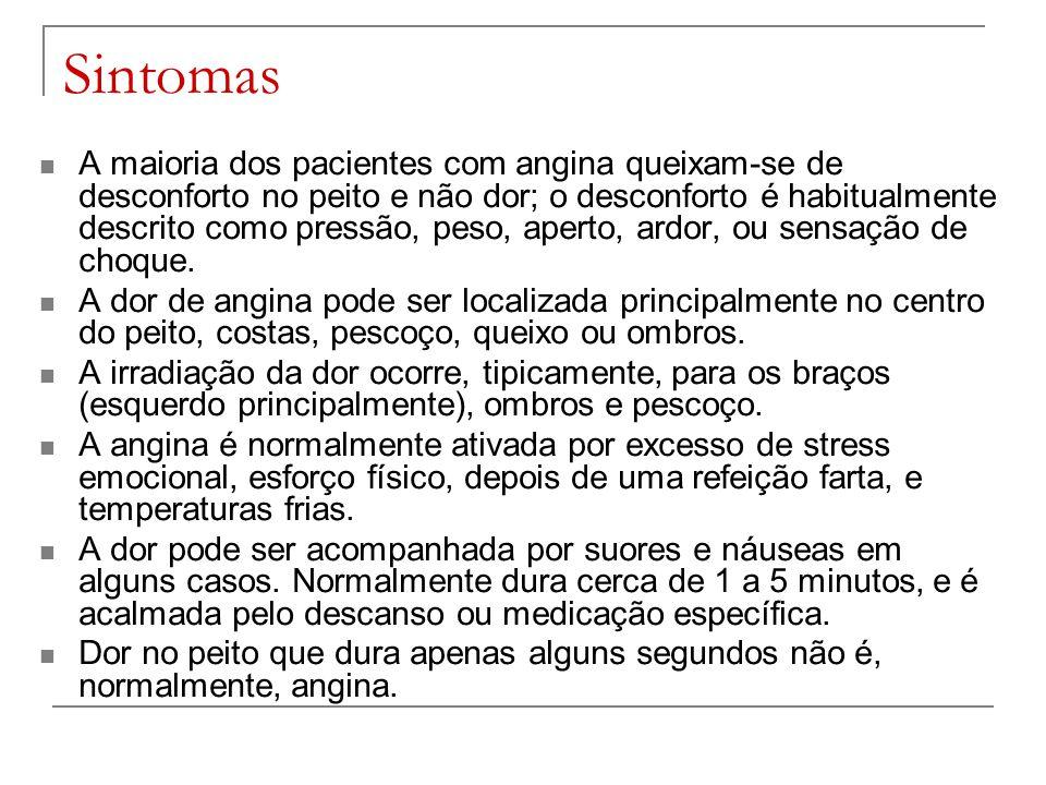 Sintomas A maioria dos pacientes com angina queixam-se de desconforto no peito e não dor; o desconforto é habitualmente descrito como pressão, peso, a