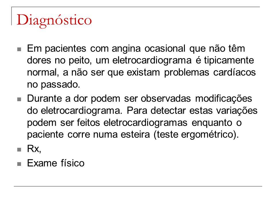 Diagnóstico Em pacientes com angina ocasional que não têm dores no peito, um eletrocardiograma é tipicamente normal, a não ser que existam problemas c