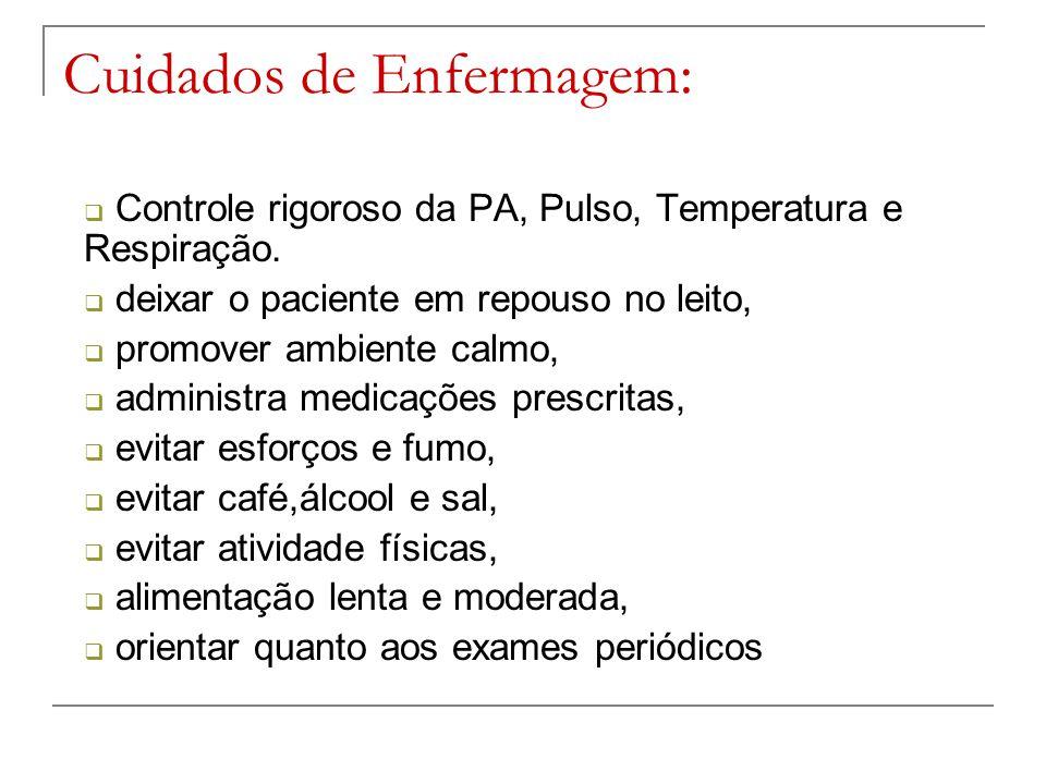 Cuidados de Enfermagem:  Controle rigoroso da PA, Pulso, Temperatura e Respiração.  deixar o paciente em repouso no leito,  promover ambiente calmo