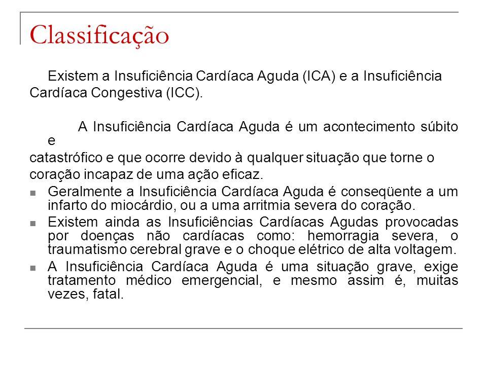 Classificação Existem a Insuficiência Cardíaca Aguda (ICA) e a Insuficiência Cardíaca Congestiva (ICC). A Insuficiência Cardíaca Aguda é um acontecime