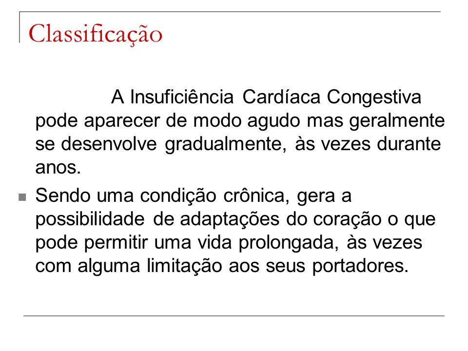 Classificação A Insuficiência Cardíaca Congestiva pode aparecer de modo agudo mas geralmente se desenvolve gradualmente, às vezes durante anos. Sendo