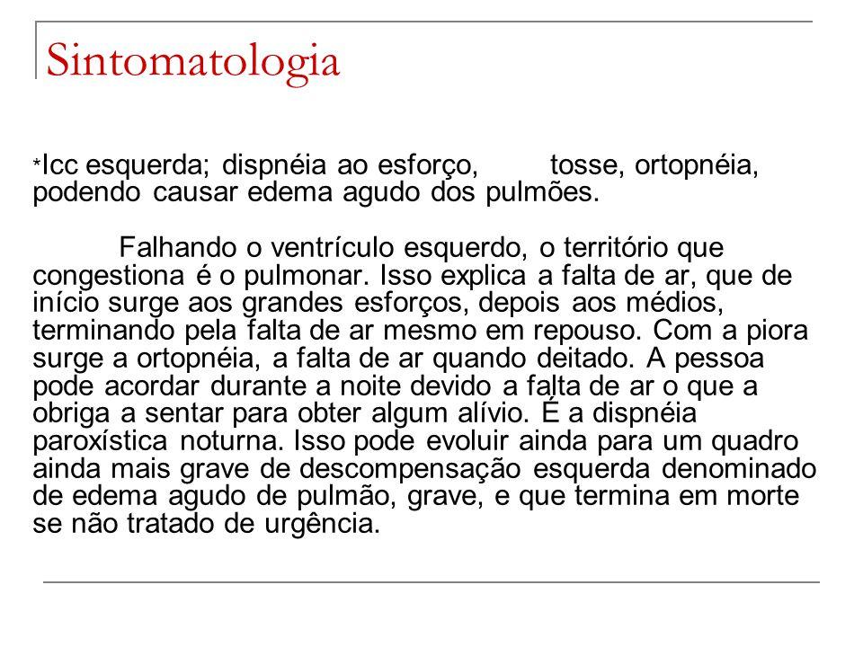 Sintomatologia * Icc esquerda; dispnéia ao esforço,tosse, ortopnéia, podendo causar edema agudo dos pulmões. Falhando o ventrículo esquerdo, o territó