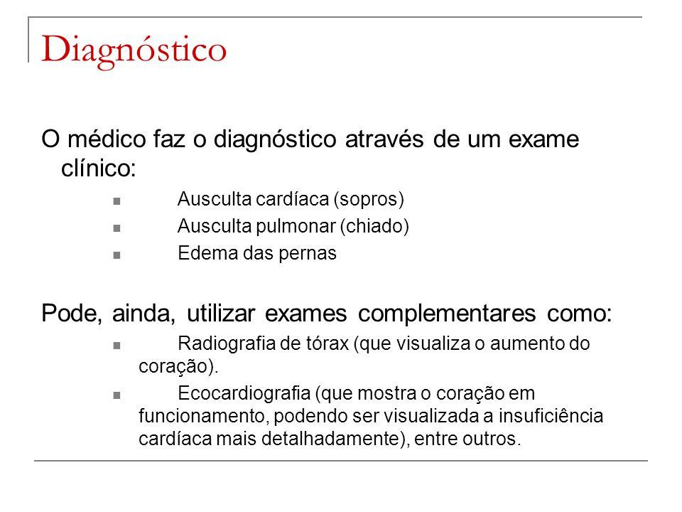 Diagnóstico O médico faz o diagnóstico através de um exame clínico: Ausculta cardíaca (sopros) Ausculta pulmonar (chiado) Edema das pernas Pode, ainda
