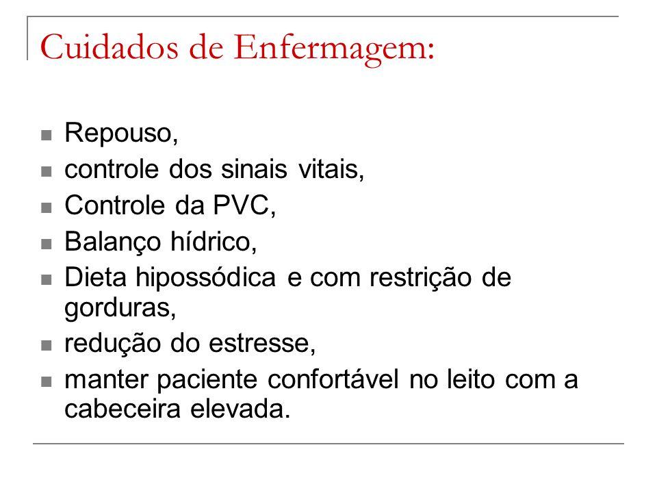 Cuidados de Enfermagem: Repouso, controle dos sinais vitais, Controle da PVC, Balanço hídrico, Dieta hipossódica e com restrição de gorduras, redução