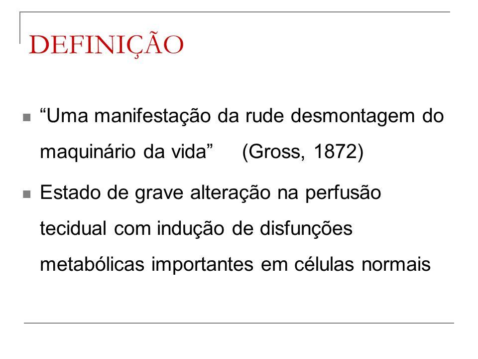 """DEFINIÇÃO """"Uma manifestação da rude desmontagem do maquinário da vida"""" (Gross, 1872) Estado de grave alteração na perfusão tecidual com indução de dis"""