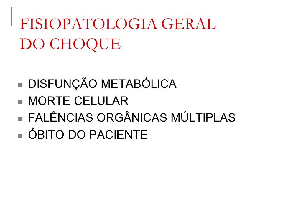 FISIOPATOLOGIA GERAL DO CHOQUE DISFUNÇÃO METABÓLICA MORTE CELULAR FALÊNCIAS ORGÂNICAS MÚLTIPLAS ÓBITO DO PACIENTE