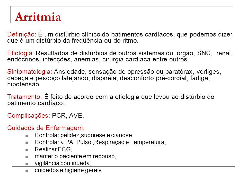 Cuidados de Enfermagem:  Controle rigoroso da PA, Pulso, Temperatura e Respiração.