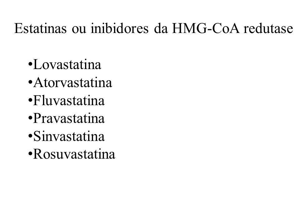 Estatinas ou inibidores da HMG-CoA redutase Lovastatina Atorvastatina Fluvastatina Pravastatina Sinvastatina Rosuvastatina
