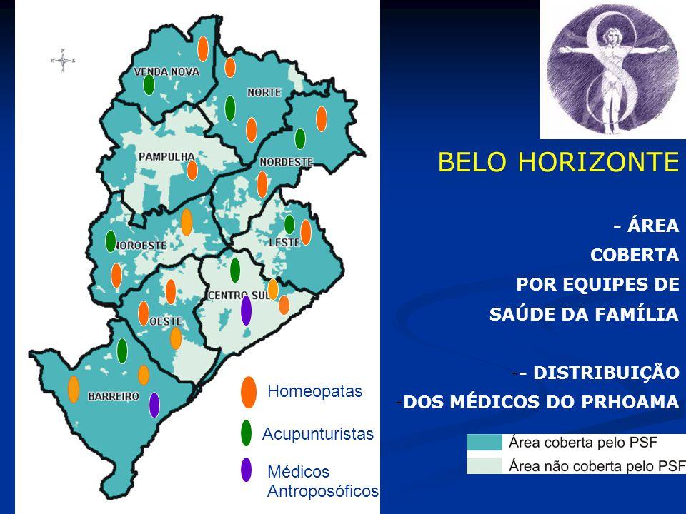 BELO HORIZONTE - ÁREA COBERTA POR EQUIPES DE SAÚDE DA FAMÍLIA -- DISTRIBUIÇÃO -DOS MÉDICOS DO PRHOAMA Homeopatas Acupunturistas Médicos Antroposóficos