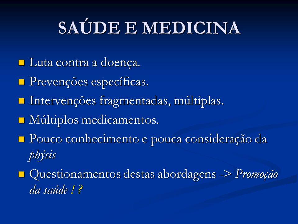 SAÚDE E MEDICINA Luta contra a doença. Luta contra a doença. Prevenções específicas. Prevenções específicas. Intervenções fragmentadas, múltiplas. Int
