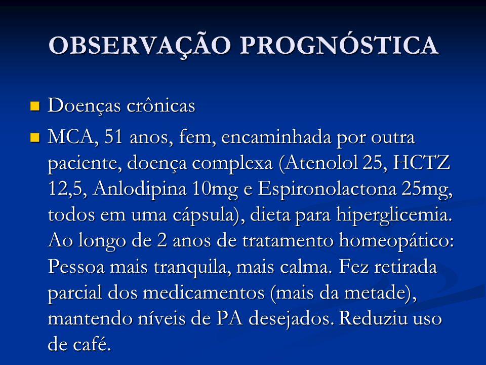 OBSERVAÇÃO PROGNÓSTICA Doenças crônicas Doenças crônicas MCA, 51 anos, fem, encaminhada por outra paciente, doença complexa (Atenolol 25, HCTZ 12,5, A