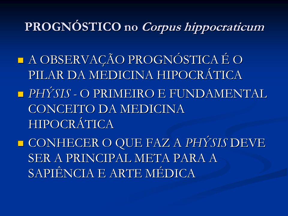 PROGNÓSTICO no Corpus hippocraticum A OBSERVAÇÃO PROGNÓSTICA É O PILAR DA MEDICINA HIPOCRÁTICA A OBSERVAÇÃO PROGNÓSTICA É O PILAR DA MEDICINA HIPOCRÁT