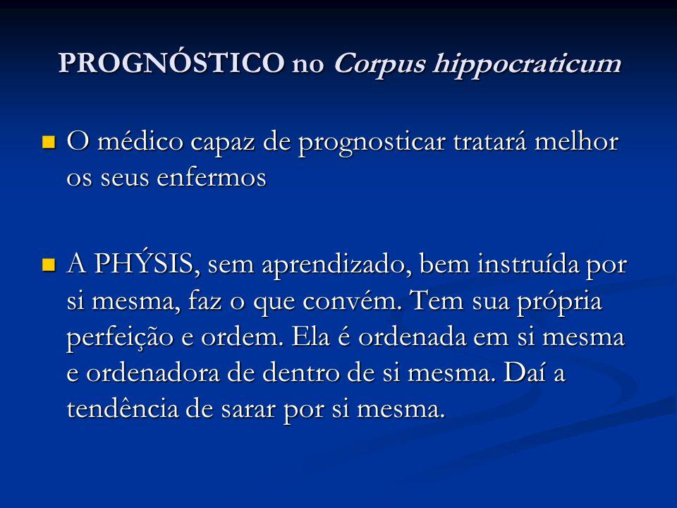 PROGNÓSTICO no Corpus hippocraticum O médico capaz de prognosticar tratará melhor os seus enfermos O médico capaz de prognosticar tratará melhor os se