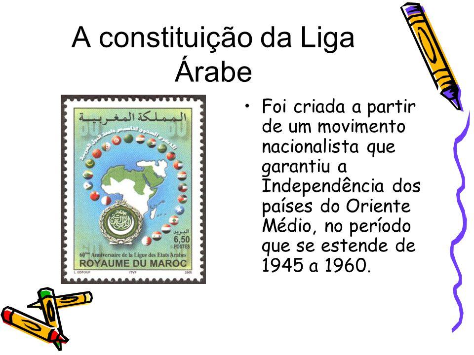 A constituição da Liga Árabe Foi criada a partir de um movimento nacionalista que garantiu a Independência dos países do Oriente Médio, no período que